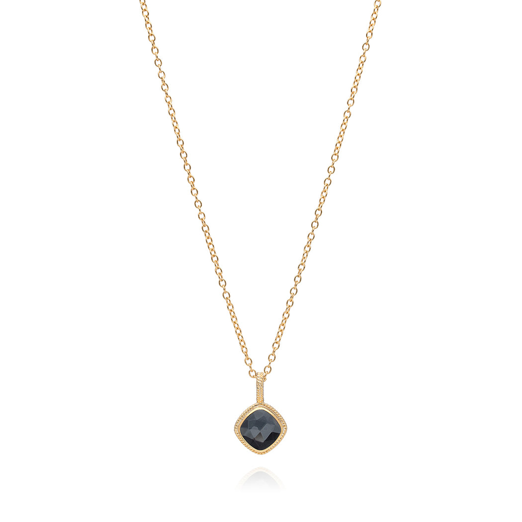 Hematite Cushion Pendant Necklace - Gold