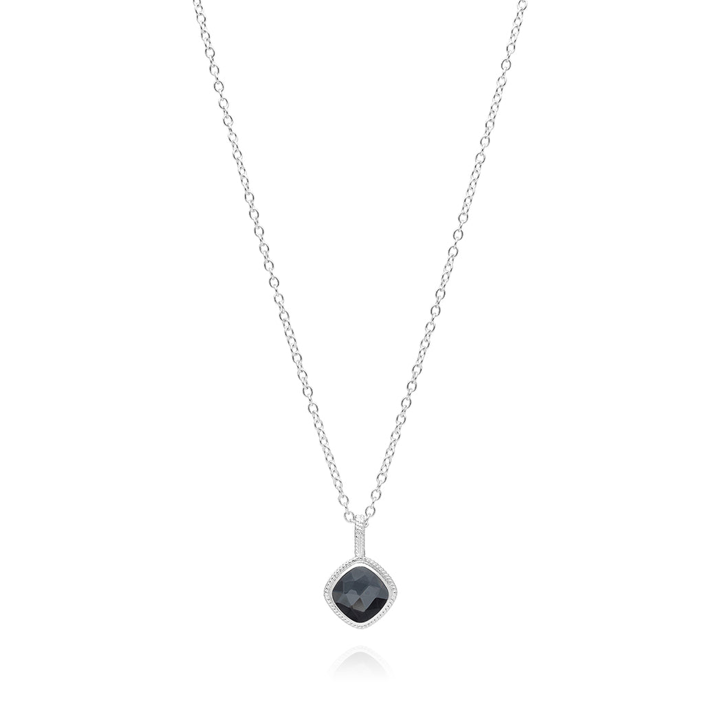 Hematite Cushion Pendant Necklace - Silver