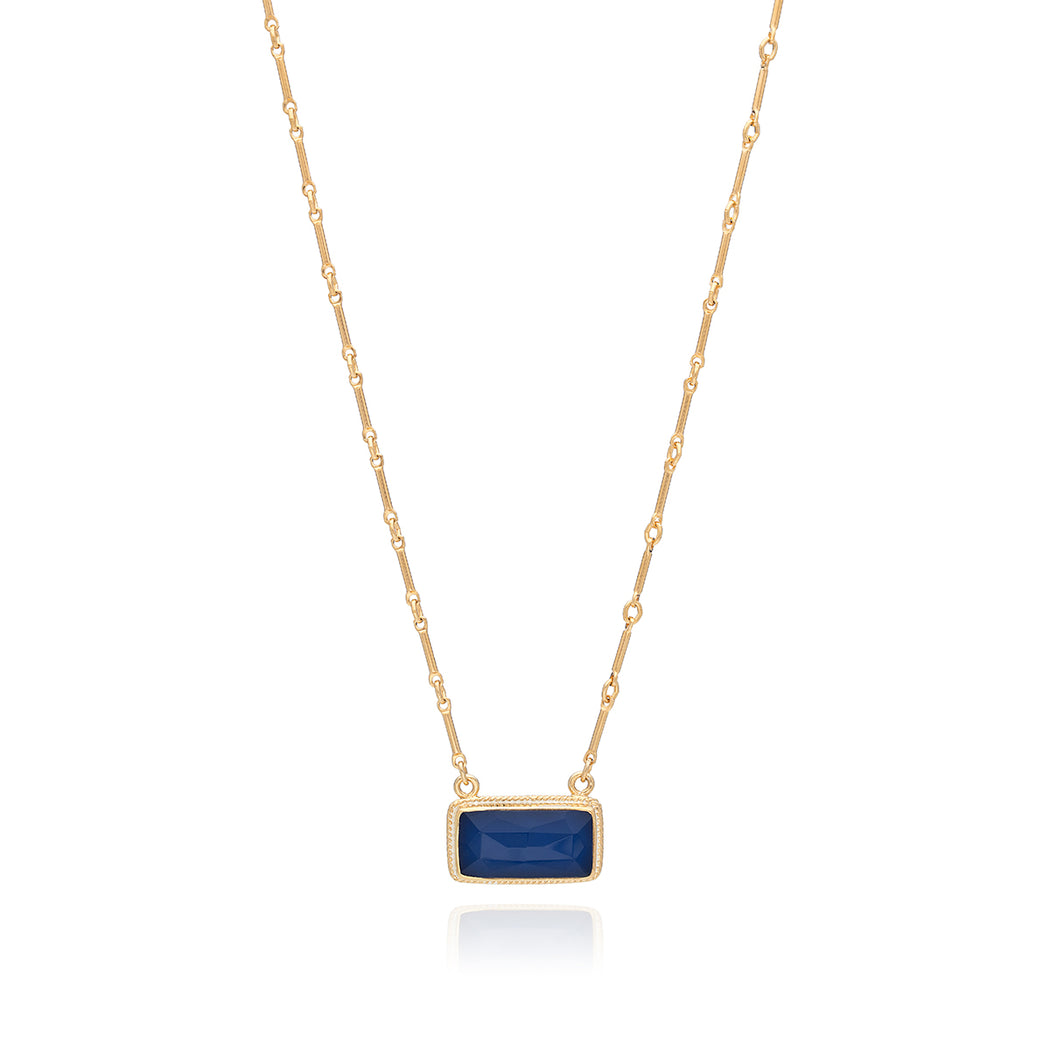Blue Sapphire Bar Pendant Necklace - Gold