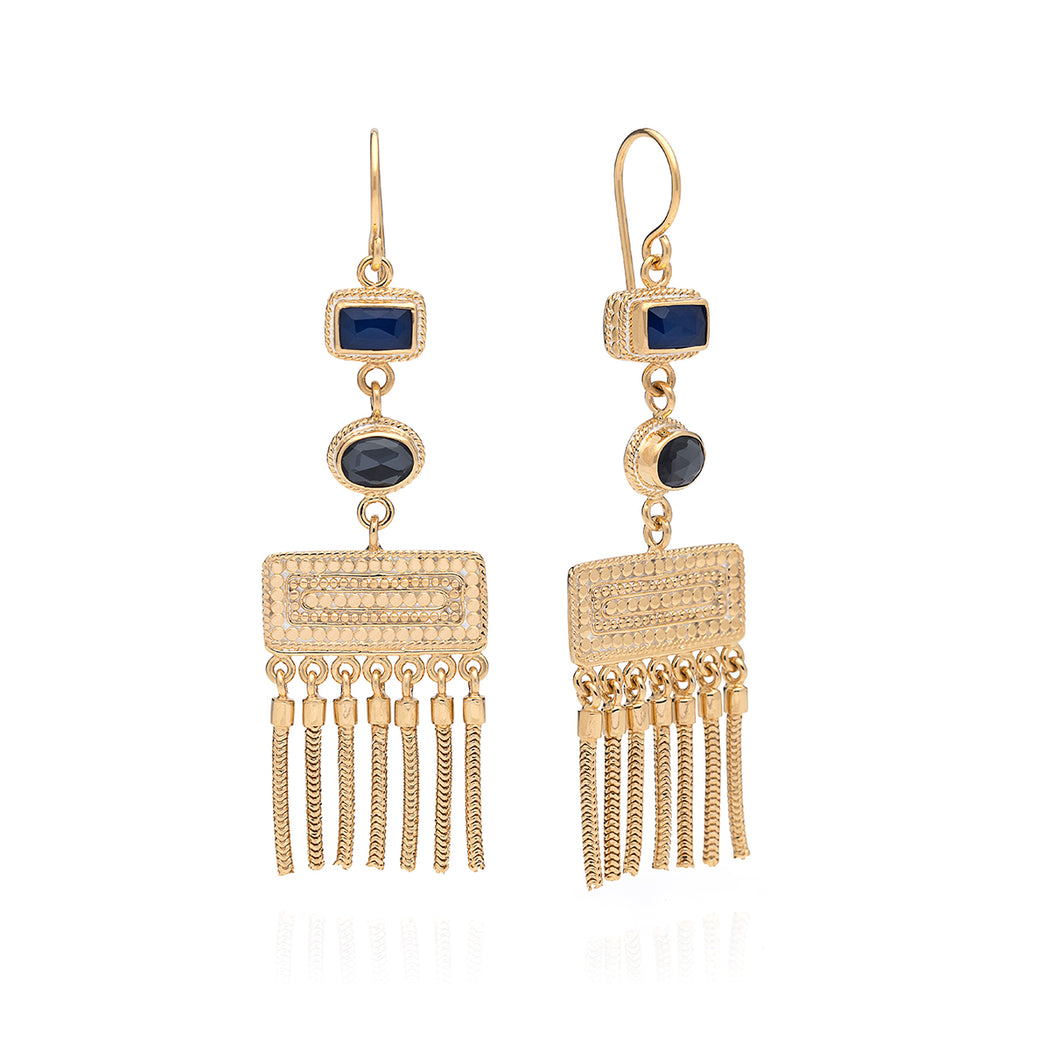 Limited Edition: Hematite & Sapphire Triple Drop Fringe Earrings - Gold