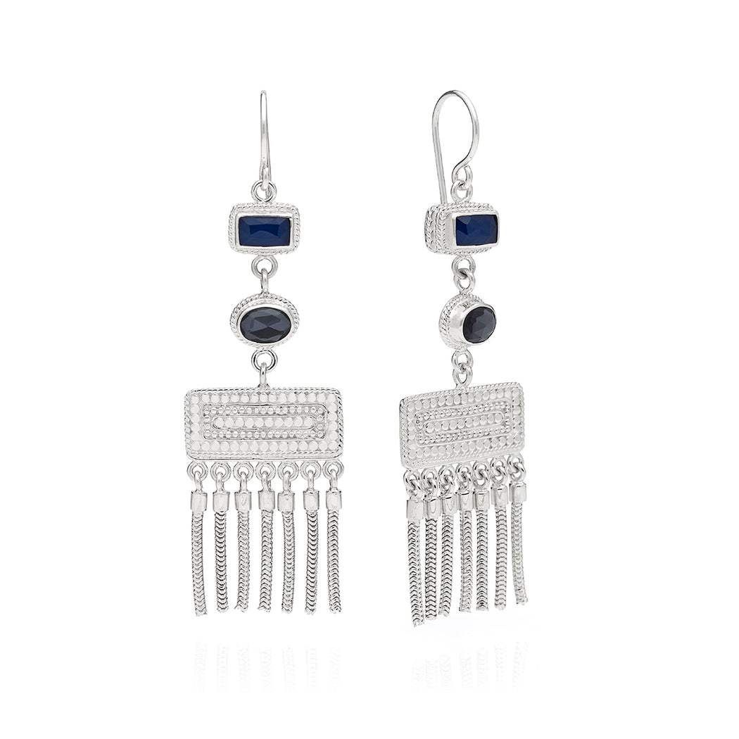 Limited Edition: Hematite & Sapphire Triple Drop Fringe Earrings - Silver