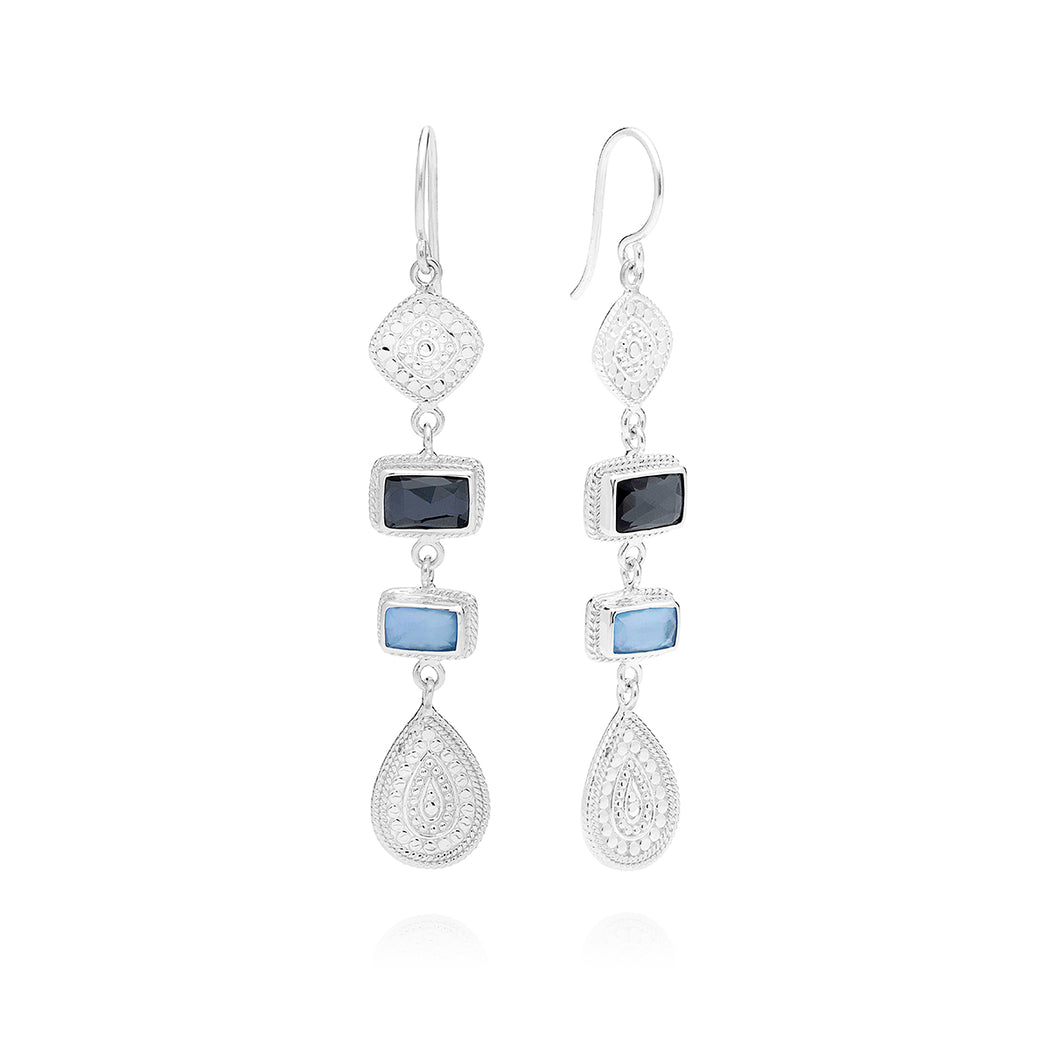 Hematite & Blue Sapphire Multi-Station Drop Earrings - Silver