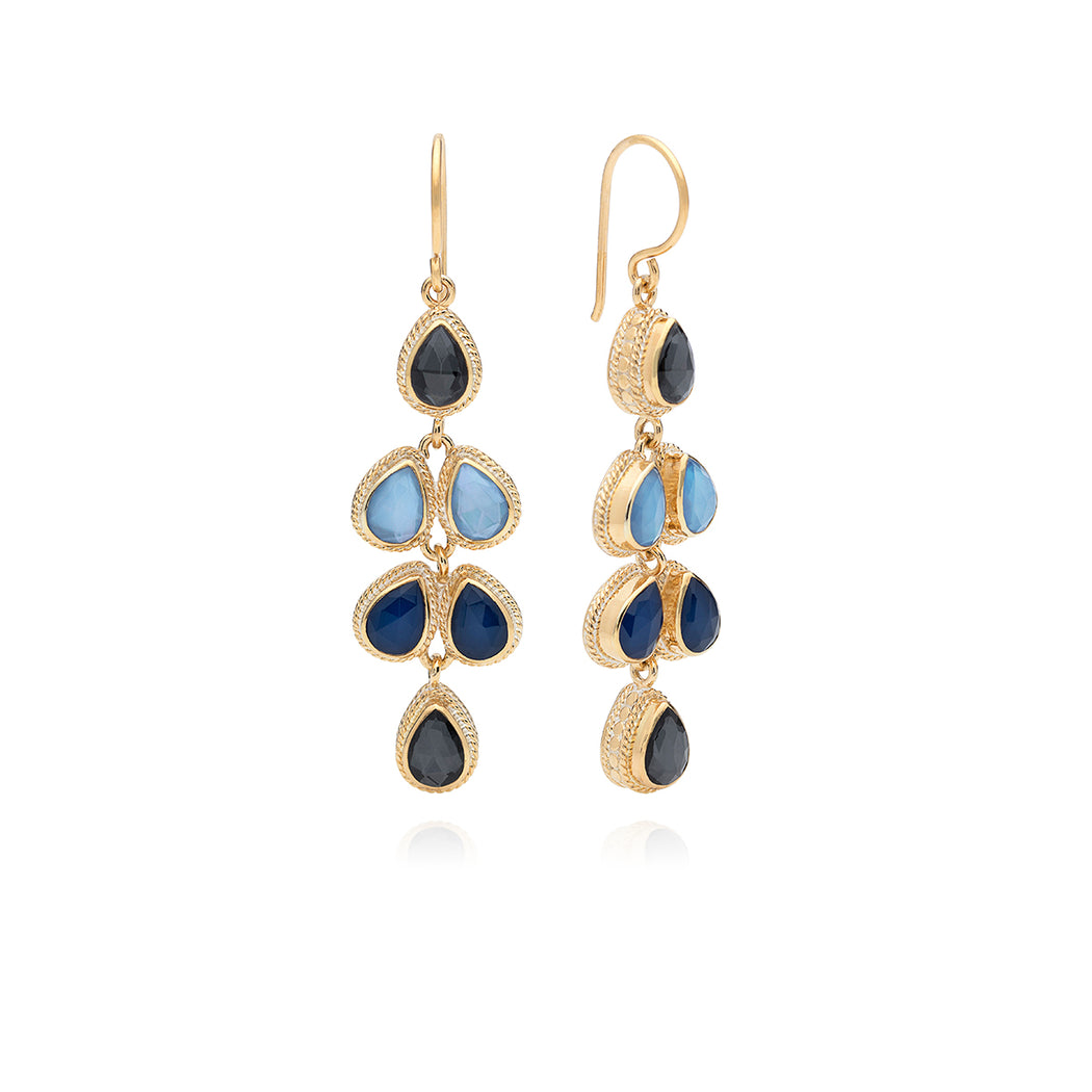 Hematite & Blue Sapphire Multi-Drop Earrings - Gold