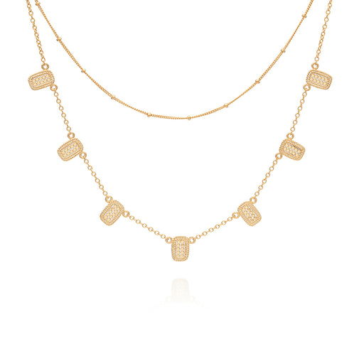 Multi-Bar Charm & Delicate Satellite Chain Double Necklace - Gold