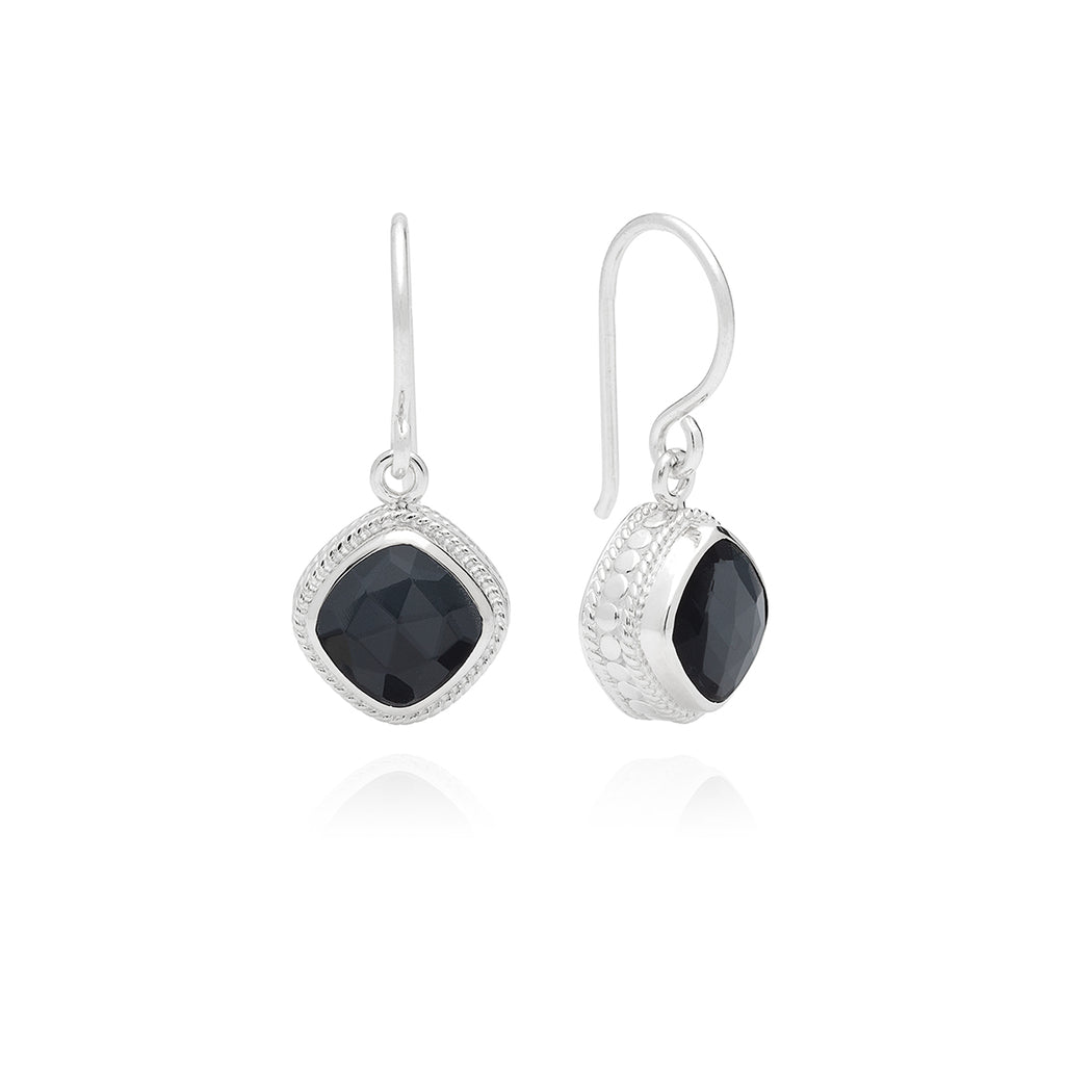 Hematite Cushion Drop Earrings - Silver