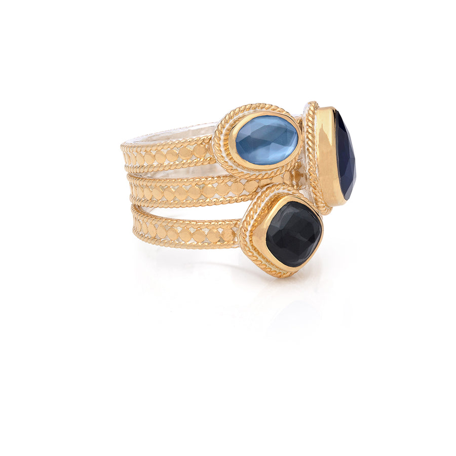 Hematite & Blue Sapphire Faux Stackable Ring - Gold