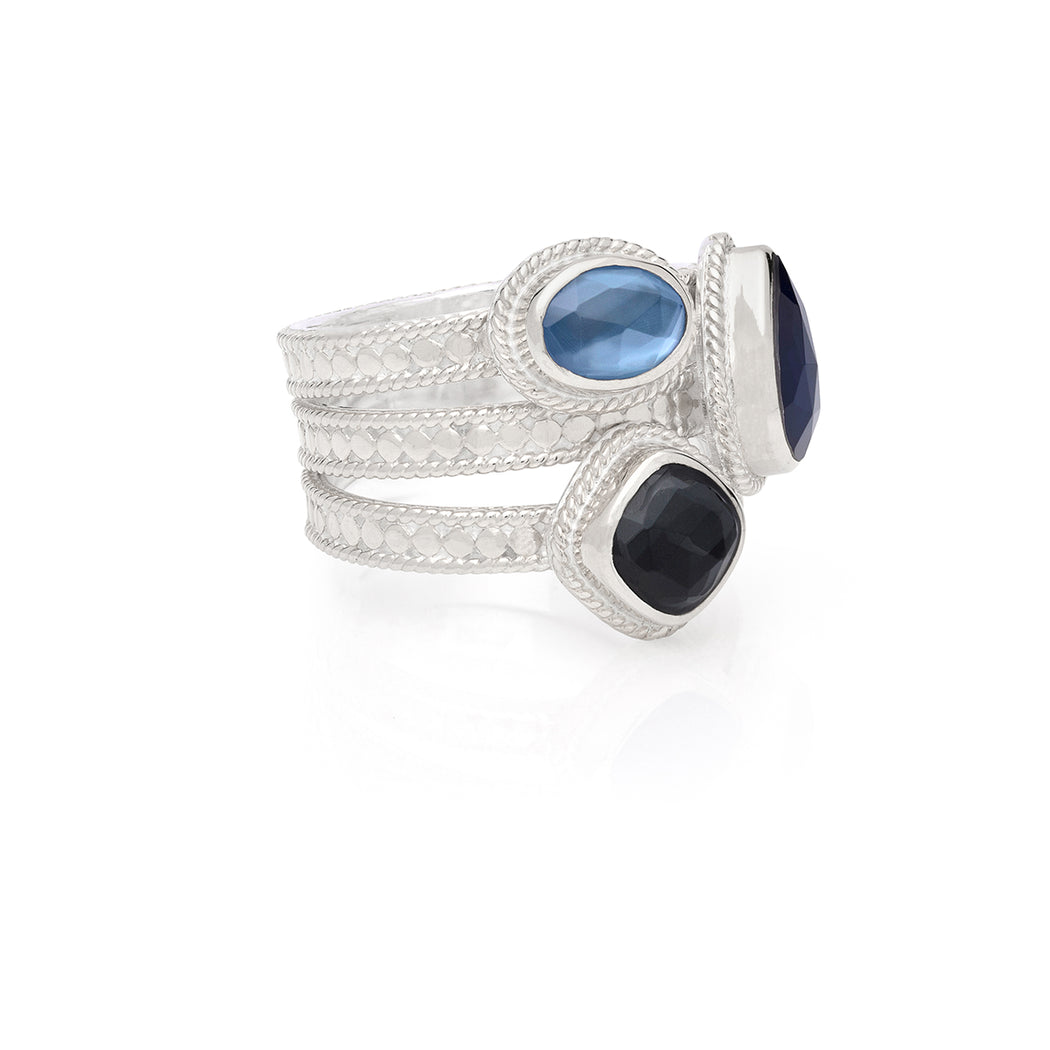 Hematite & Blue Sapphire Faux Stackable Ring - Silver