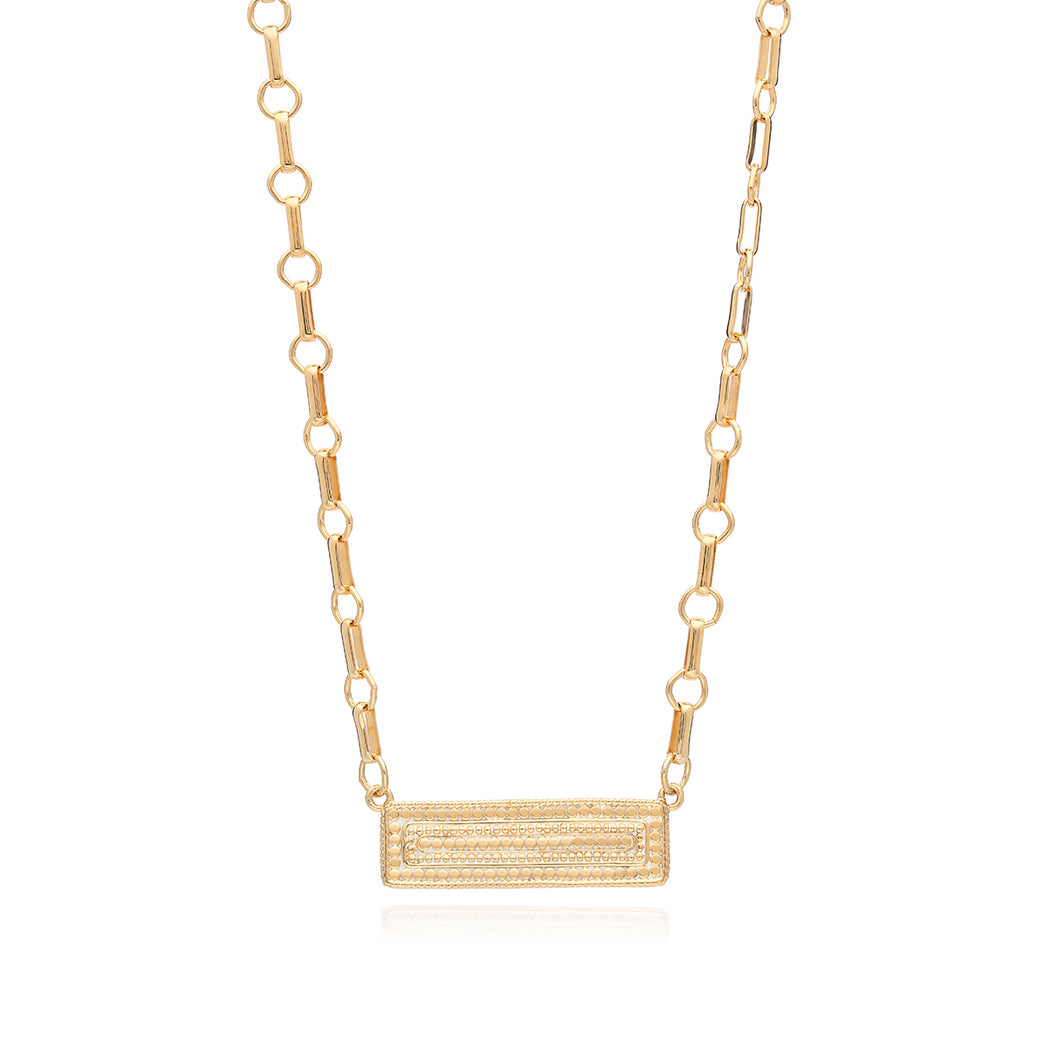 Hematite Bar Pendant Necklace - Gold