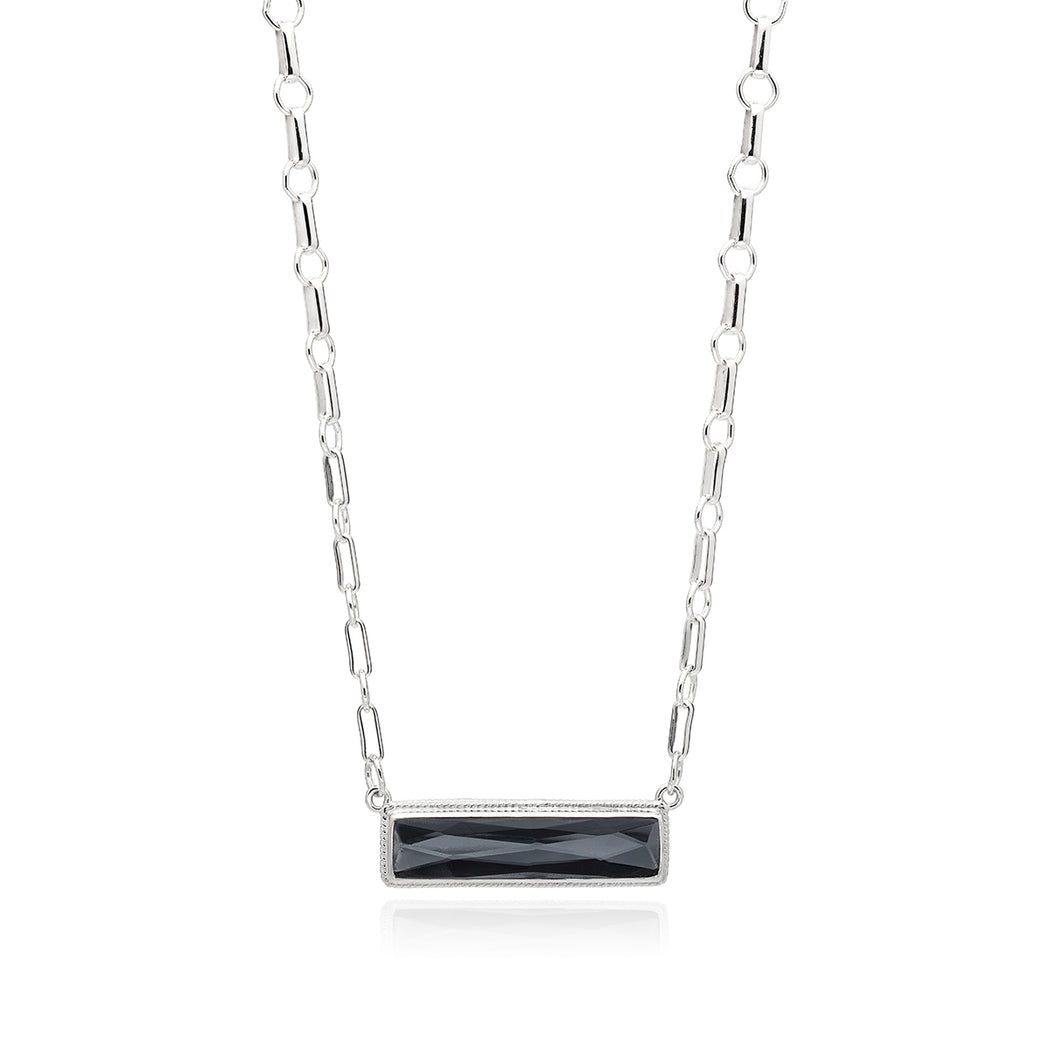 Hematite Bar Pendant Necklace - Silver