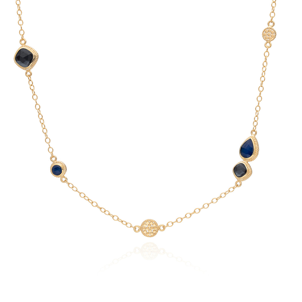 Hematite & Blue Sapphire Station Necklace - Gold