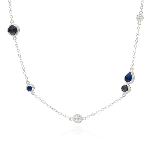 Hematite & Blue Sapphire Station Necklace - Silver