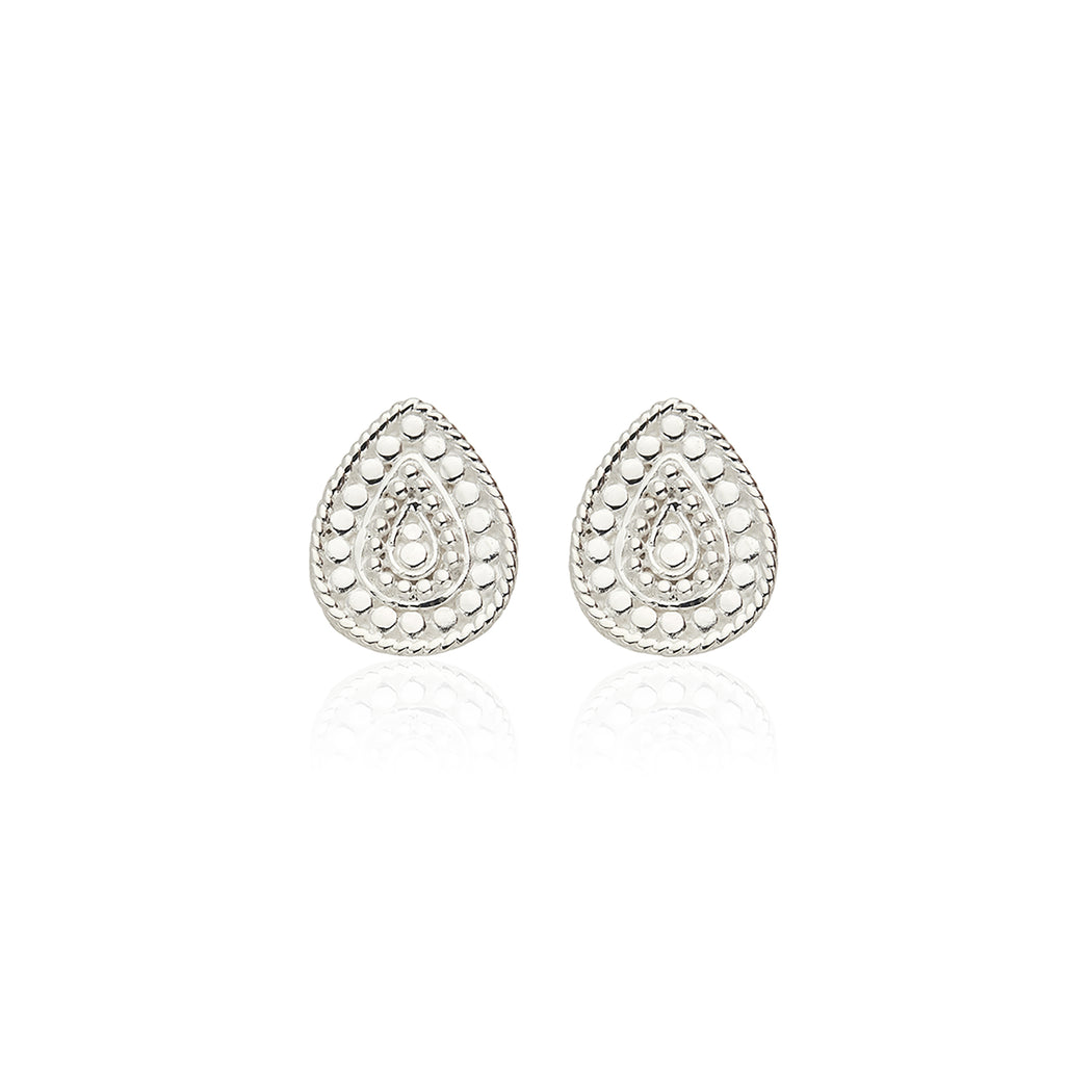 Signature Beaded Teardrop Stud Earrings - Silver
