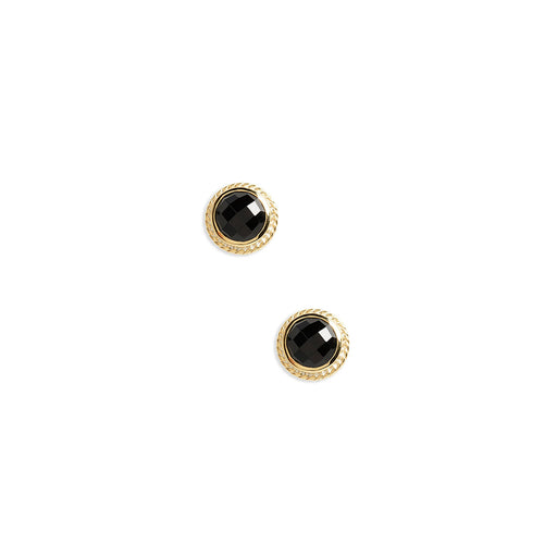 Black Onyx Circle Stud Earrings