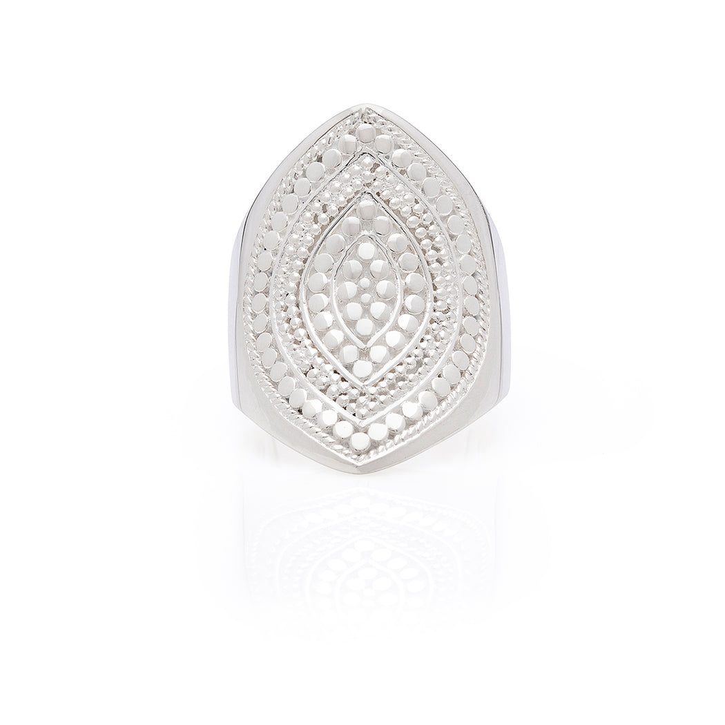 Signature Beaded Marquise Ring - Silver