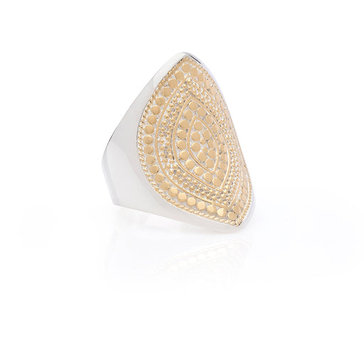 Signature Beaded Marquise Ring - Gold