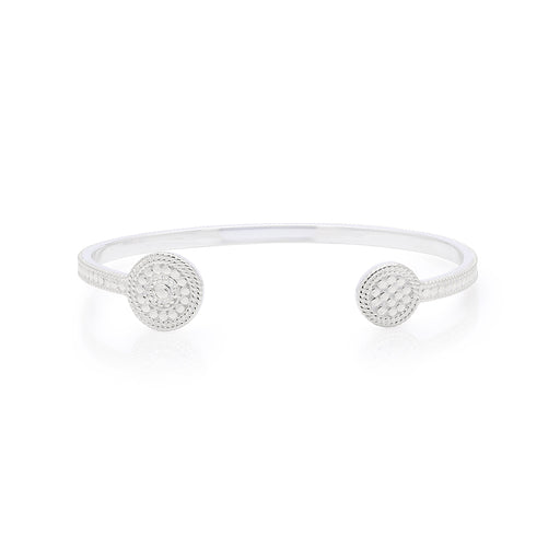 Signature Beaded Circle Open Cuff - Silver