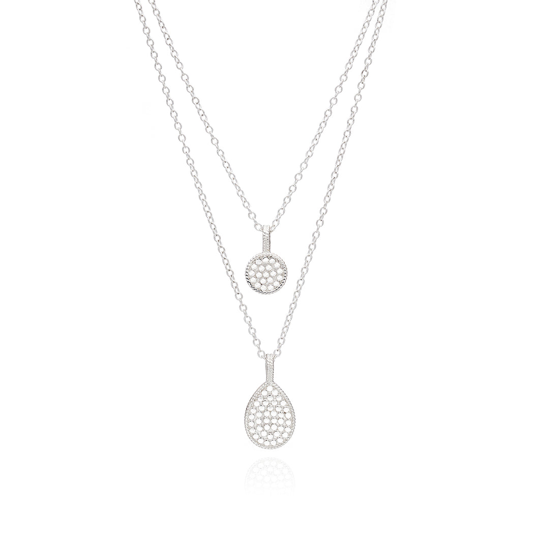 Signature Reversible Circle & Teardrop Double Necklace - Gold
