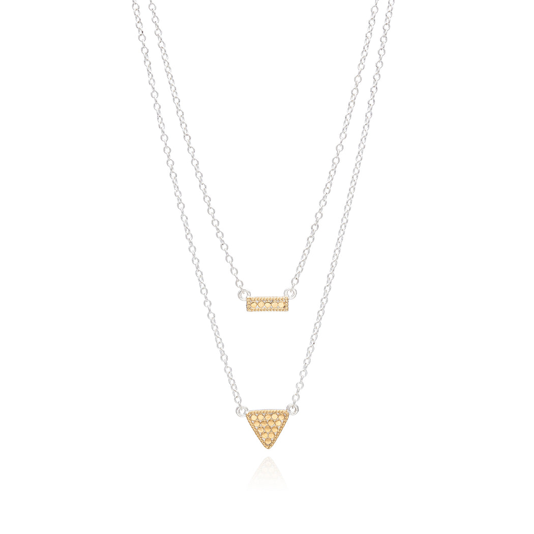 Signature Reversible Petite Bar & Triangle Double Necklace - Gold