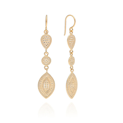Signature Marquise Triple Drop Earrings - Gold