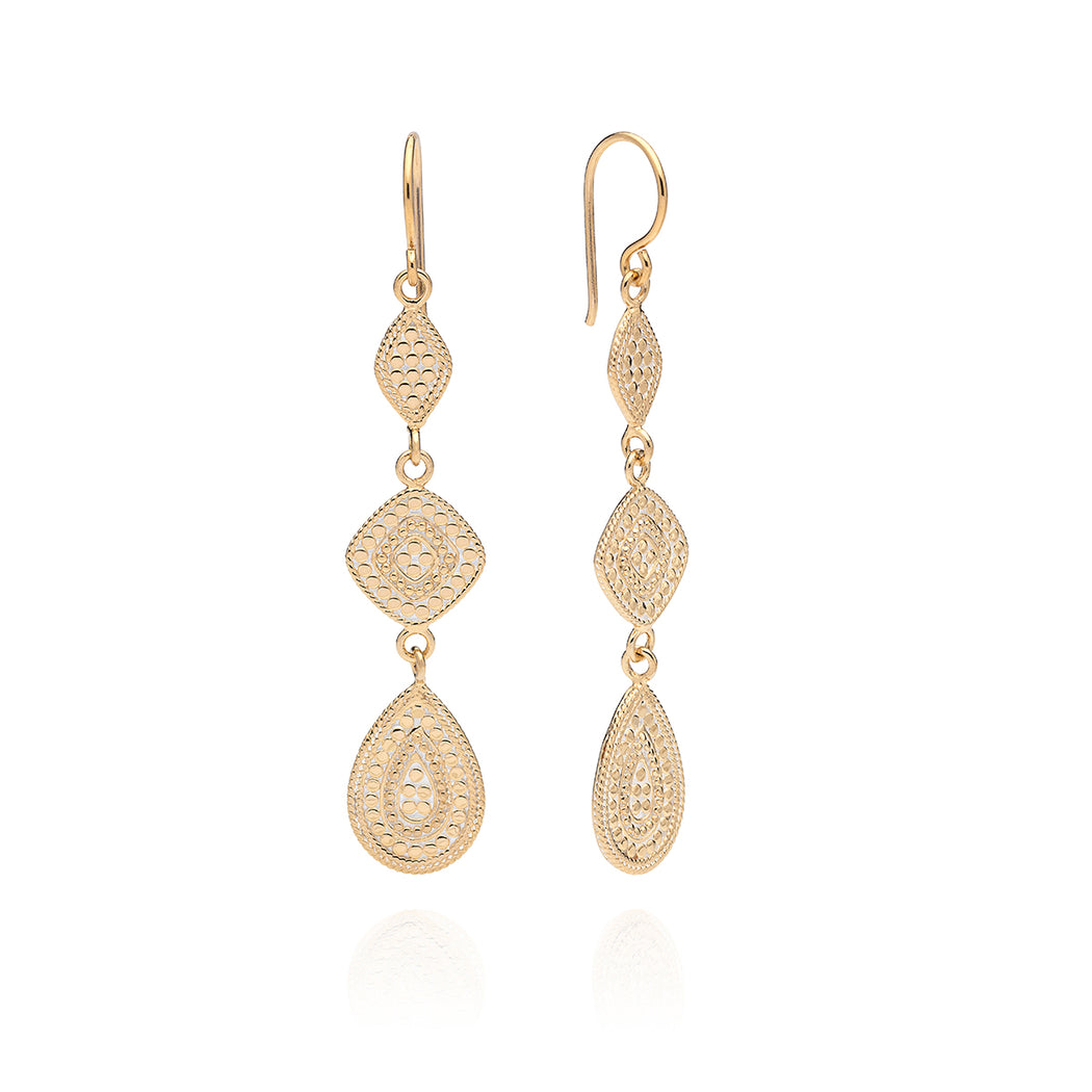 Signature Teardrop Triple Drop Earrings - Gold