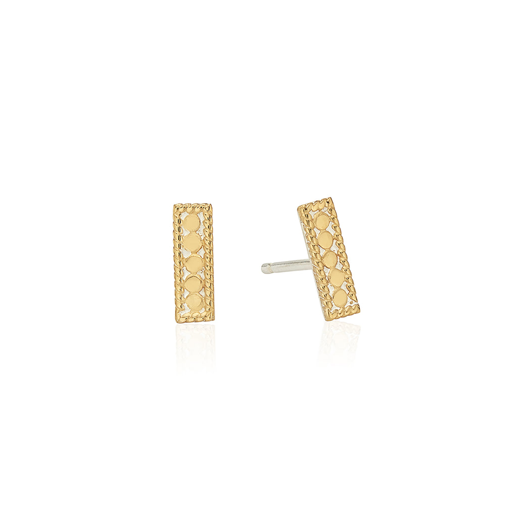 Signature Petite Bar Stud Earrings - Gold