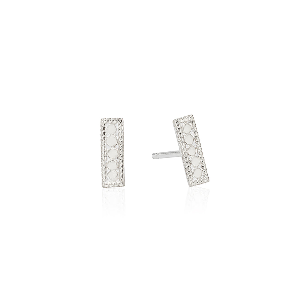 Signature Petite Bar Stud Earrings - Silver