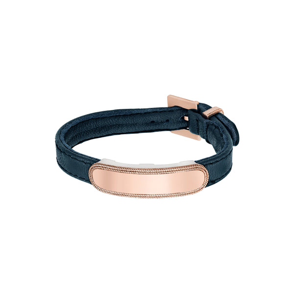 Leather Metal Bar Bracelet - Rose Gold