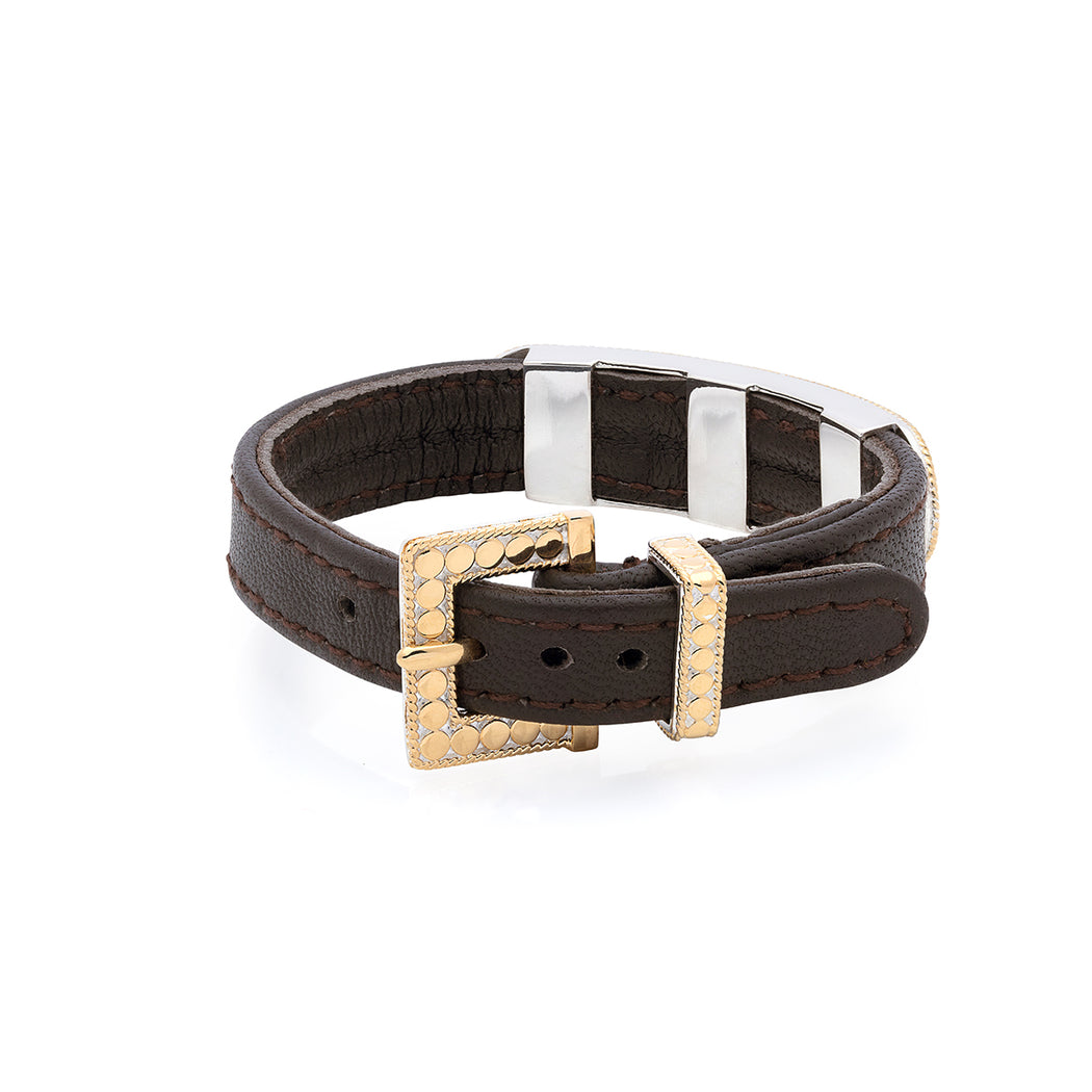 Brown Leather Gold Bar Bracelet