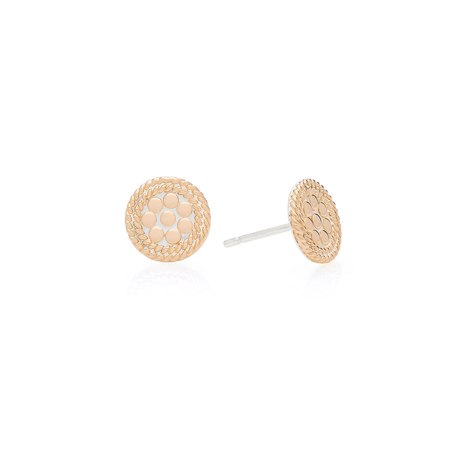 Classic Mini Circle Stud Earrings - Gold