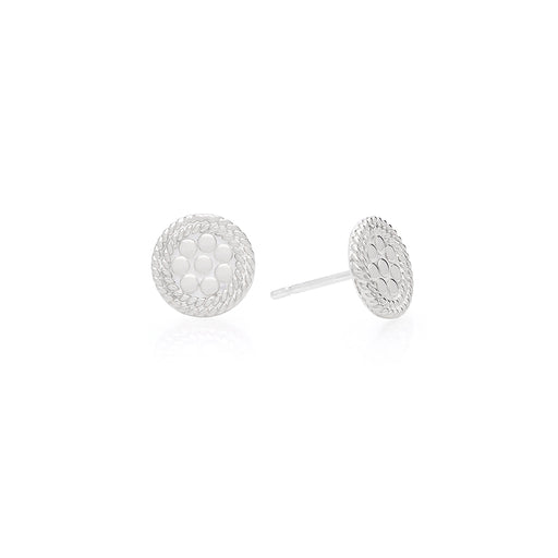 Mini Circle Stud Earrings - Silver