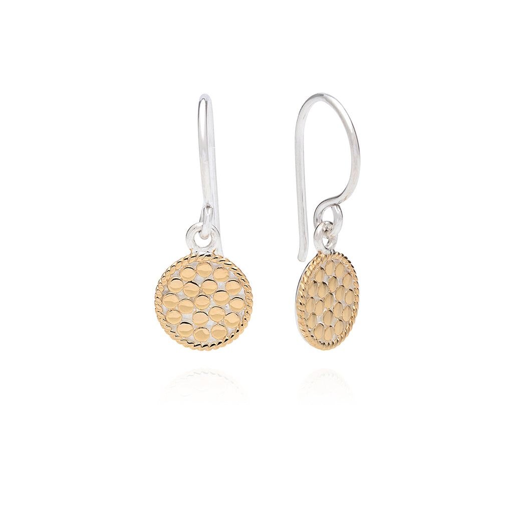 Petite Circle Drop Earrings - Gold