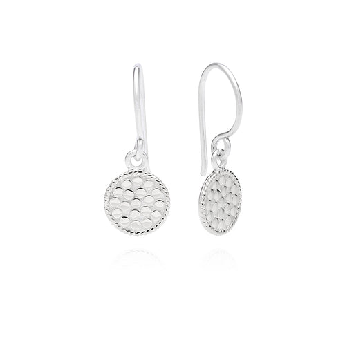 Petite Circle Drop Earrings - Silver