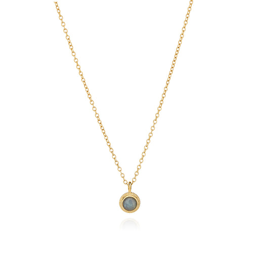 Labradorite Single Stone Stacking Necklace - Gold