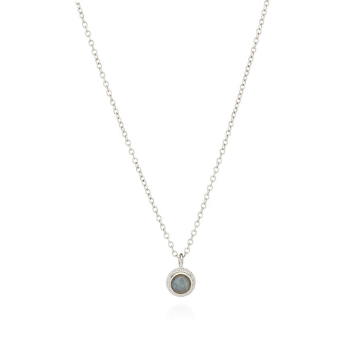 Labradorite Single Stone Stacking Necklace - Silver