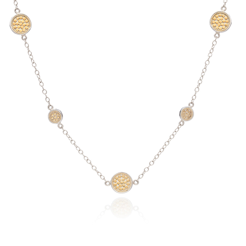 Multi-Disc Station Necklace - Gold