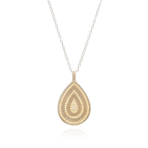 Beaded Teardrop Pendant Necklace - Gold