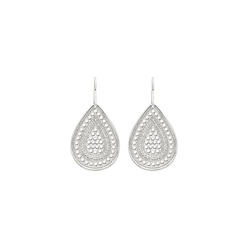 Beaded Teardrop Earrings - Silver