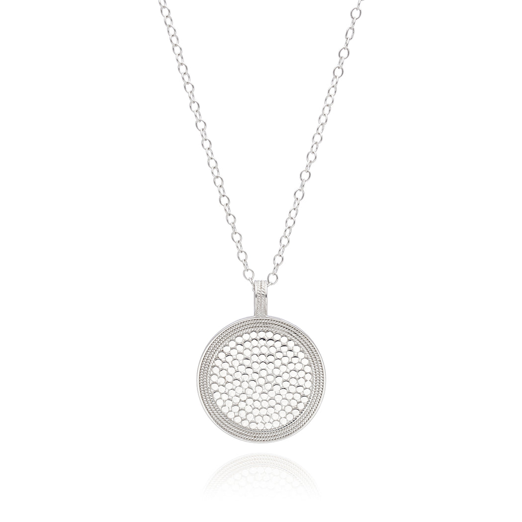 Beaded Circle Pendant Necklace - Gold
