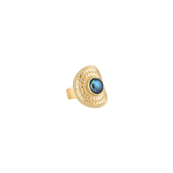 Blue Pearl Shield Ring - Gold