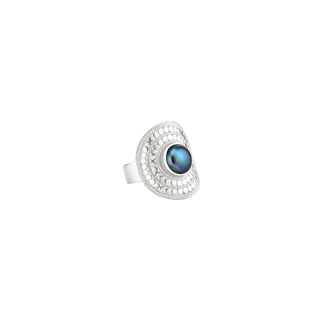 Blue Pearl Shield Ring - Silver