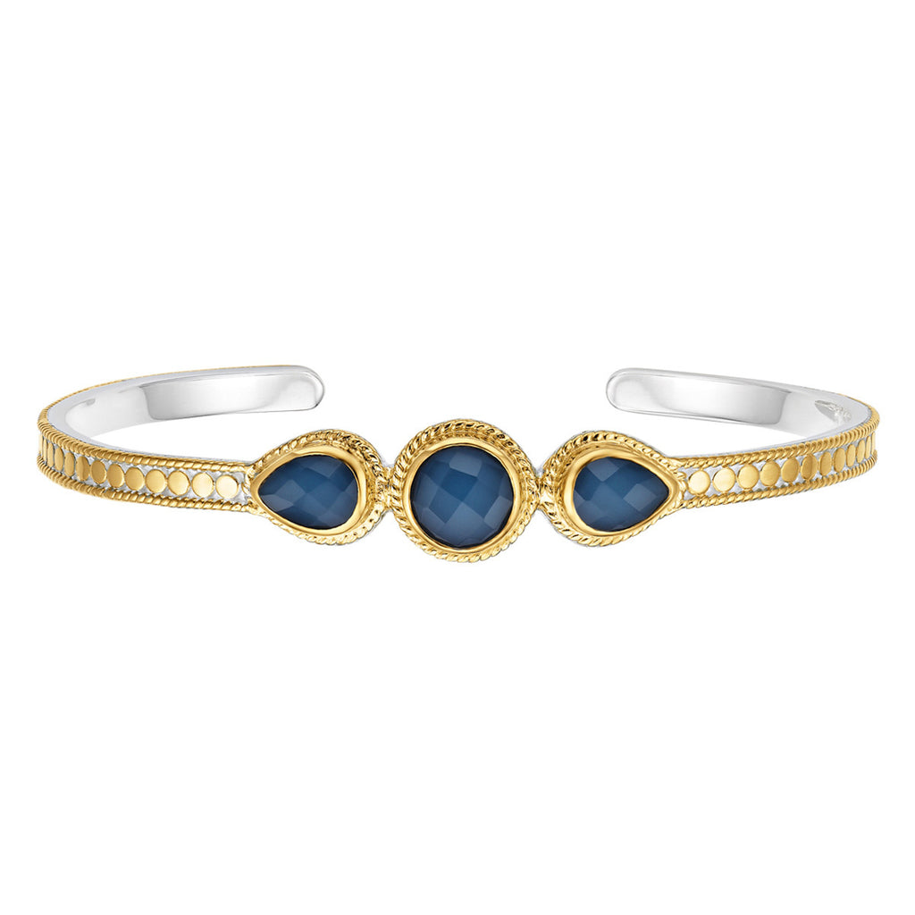 Blue Quartz Multi-Stone Cuff - Gold