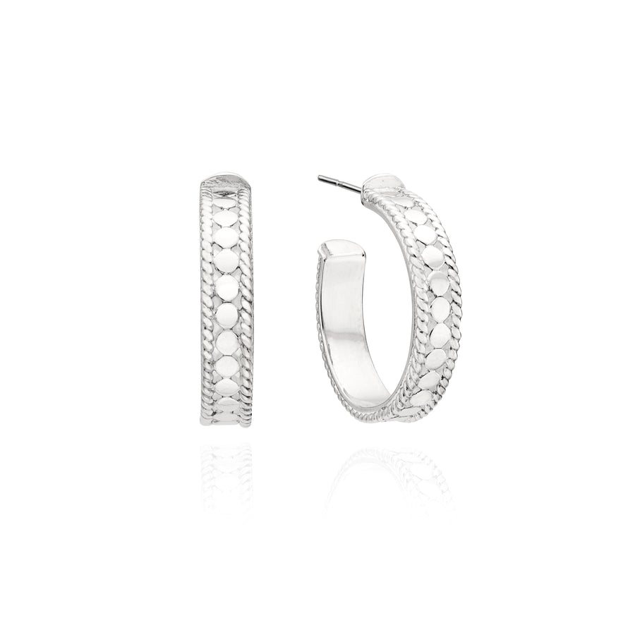 Small Dotted Hoop Earrings - Silver