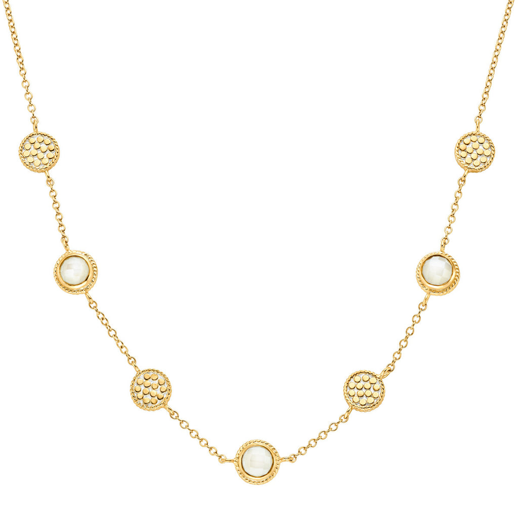 "Moonstone Multi-Disc Station Necklace 16-18"" - Gold"