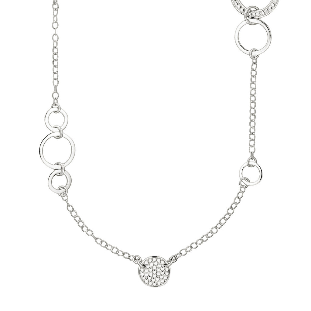 "Signature Multi-Disc Open Circle Necklace 36"" - Silver"
