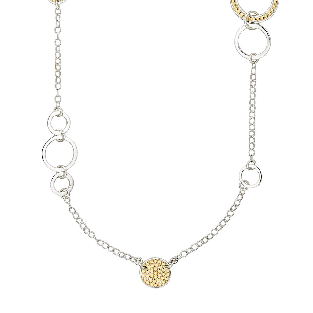 "Signature Multi-Disc Open Circle Necklace 36"" - Gold & Silver"