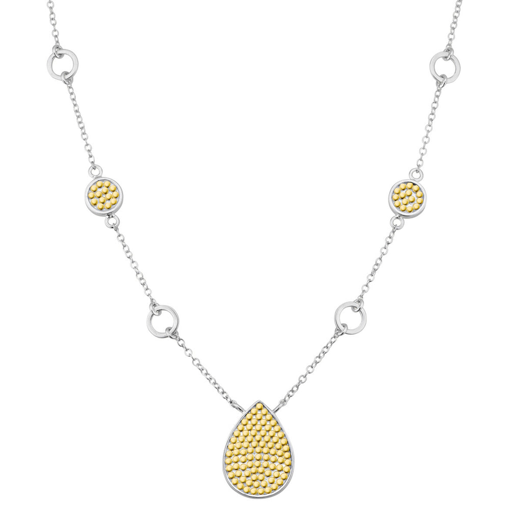 "Signature Teardrop Pendant Necklace 16-18"" (Reversible) - Gold & Silver"