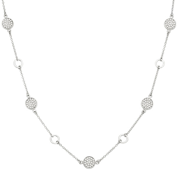 "Signature Multi-Disc Open Circle Station Necklace 16-18"" - Silver"