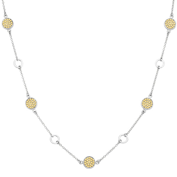 "Signature Multi-Disc Open Circle Station Necklace 16-18""  - Gold & Silver"