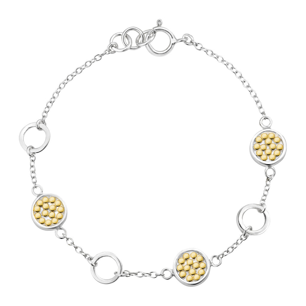 "Signature Multi-Disc Open Circle Bracelet 7"" - Gold & Silver"