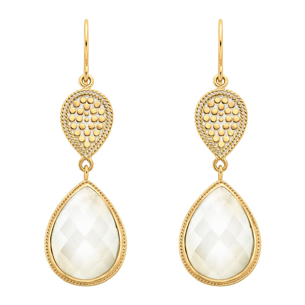 Moonstone Double Drop Earrings - Gold
